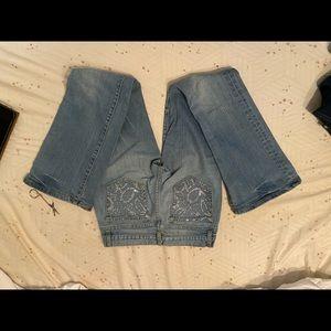 BEBE JEANS With rhinestone pockets. Sz-28